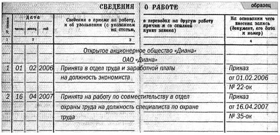 запись в трудовой книжке при приеме в обособленное подразделение образец